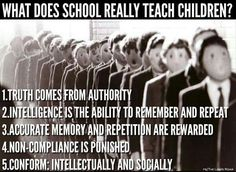 School is important but at the moment we have enemies of humanity in control of the education system! Education System, Kids Education, Home Schooling, History Facts, Public School, Thought Provoking, Teaching Kids, College Teaching, Life Lessons