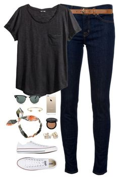 ootd by classically-preppy ❤ liked on Polyvore featuring moda, J Brand, Dorothy Perkins, HM, Converse, Ray-Ban, Kate Spade e J.Crew