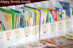 Sorting books by topic in magazine holders