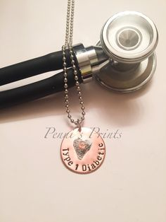Hand stamped Diabetic Type 1 medical alert by PENNISPRINTS on Etsy