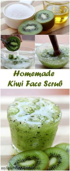 Homemade Kiwi Face Scrub ~ only 3 ingredients! 100g Sugar, 1-2 TBL Carrier Oil (Olive, Almond, Grapeseed), 2 Kiwi