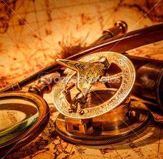 Vintage items on ancient map. — Imagen de stock #31216381