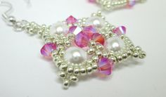 Pink and silver princess earrings rose swarovski AB 2X