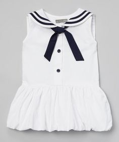 Love this White & Navy Sailor Bubble Dress - Infant, Toddler & Girls on #zulily! #zulilyfinds