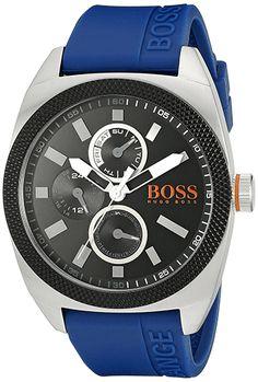 Montre Hugo Boss Orange Homme 1513245 - Quartz - Analogique - Cadran en Acier Noir et Argent - Bracelet en Caoutchouc Bleu - Jour et Date - Montre Allemande