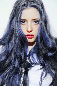 Blue. #blue #hairextensions #hair #unusual #original #striking #hairstyles #haircolors #pastels #hairdo #extensions #curls #ombre