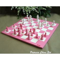 First pink chess set I ever saw. Cool! There's a hello kitty one, too.