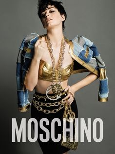 Pop star Katy Perry sported a short hairstyle for Moschino's fall-winter 2015 campaign.