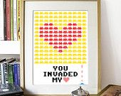 Print Typography Art Illustration Poster Yellow and Red - YOU INVADED My HEART - A3 Poster - inspired in vintage Space Invaders video game