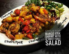 Stovetop mango jerk shrimp #jerkshrimp #mangoshrimp #jamaica #foodpost Jerk Shrimp, Tandoori Chicken, Jamaica, Chicken Wings, Kale, Mango, Food And Drink, Meat, Ethnic Recipes