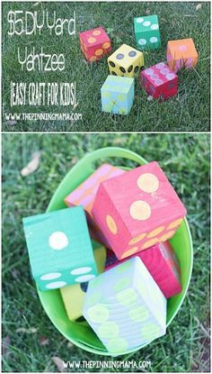 These DIY Yard Dice make playing games like yahtzee a fun outdoor family activity for the summer! Not just for kids.I love Yahtzee Backyard Games, Outdoor Games, Outdoor Fun, Lawn Games, Yard Yahtzee, Yahtzee Game, Yard Dice, Outside Games, Crates