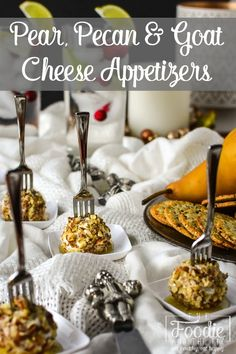 Day Fix Mini Pear, Pecan and Goat Cheese Appetizers - These easy appetizers are great for the holidays or even for game day! 21 Day Fix Mini Pear, Pecan and Goat Cheese Appetizers - These easy appetizers are great for the holidays or even for game day! Holiday Party Appetizers, Light Appetizers, Cheese Appetizers, Healthy Appetizers, Appetizer Recipes, Healthy Snacks, Thanksgiving Appetizers, Savory Snacks, Healthy Recipes