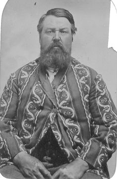 Late 1860s tintype in a CDV holder of a man in a wildly patterned smoking jacket from the collection of William Christen IV.