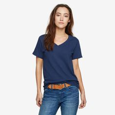 Premium V-Neck T, Evening Blue by American Giant