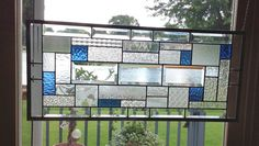 Clear blue Stained glass panel window hanging beveled by SGHovel, $200.00