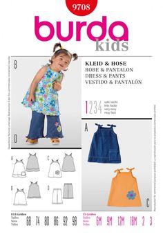 Burda Toddlers Easy Sewing Pattern 9708 - Dresses & Pants | Sewing | Patterns | Minerva Crafts