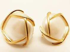 Vintage Napier Gold Tone Large Faux Pearl by TheEarringPlace