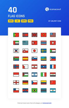 Flag  Icon Pack - 40 Filled Outline Icons