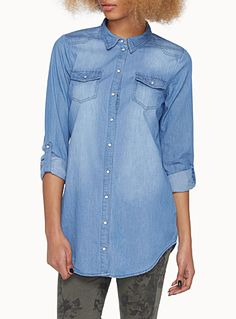 Only at Twik   This season's must-have piece with a fashionable chic rock style   Faded stretch denim shirt with a worn look   Long roll tab sleeves   Long tunic style with a rounded hem