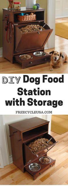 Learn to build a DIY Dog Food Feeding Station.