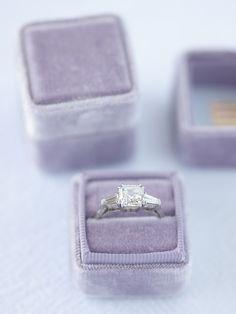 The Gidget | lavender velvet ring box from The Mrs. Box