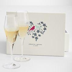 love birds keepsake box + champagne toasting flutes