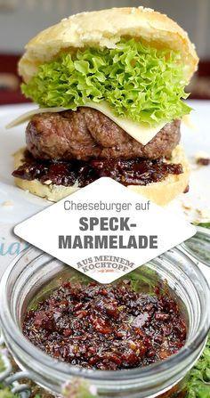 Cheeseburger auf Speckmarmelade. Eine köstliche Zutat zum Cheeseburger auf Speckmarmelade ist ein kräftiger Cheddar. Und natürlich Bacon jam oder Speckkonfitüre, oder Speckmarmelade. Je nachdem wie man es nennen will. Auf jeden Fall selbst gemacht!