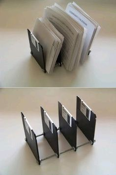 My DIY Projects: Recycling Make Diskette like a Paper Holder. I am not sure you can still get these but you could use cd's and make round holders Do It Yourself Projects, Diy Projects To Try, Pot A Crayon, Diy Step By Step, Floppy Disk, Reuse Recycle, Organizer, Plastic Bottles, Rubik's Cube