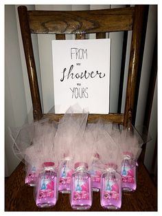 Bridal shower gift favors tulle paris themed bath body works shower gel from my shower to yours calligraphy