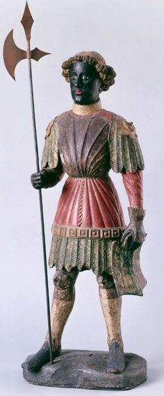 Germany (c. 1400) Anonymous German Artist - Saint Maurice Polychrome and Gilded Wood, 87 cm.