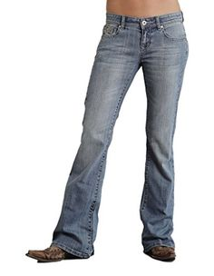 Stetson Womens 816 Classic Fit Distressed Embellished Bootcut Jeans Denim 16 L -- You can find more details by visiting the image link.