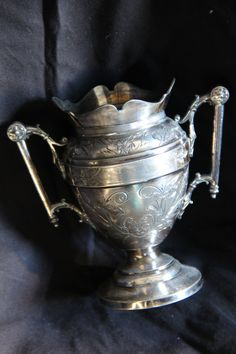 Antique Silver Trophy Loving Cup Wastepot Vase Double Handles $60.00