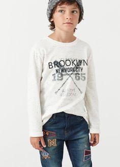 Print flecked t-shirt - Boys Teen Boy Fashion, Toddler Boy Fashion, Shirts For Teens Boys, Beauty Of Boys, Young Cute Boys, Boys Wear, Fashion Wear, Baby Boy Outfits, Clothes