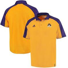 East Carolina Pirates adidas 2016 Football Coaches Sideline climalite Polo  - Gold Purple 01171d66b648d
