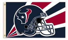 The Houston Texans Helmet Flag measures 3Ft x 5Ft and features the Texan NFL helmet design