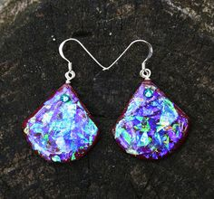Rich Purple Synthetic Opal Drop Earrings with Swarovski Crystals and Sterling Silver - Blue, Purple, Red, Green, Gold Fire and Flash!