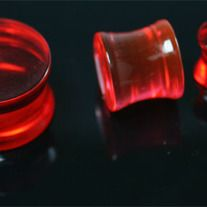 Pair (2 pieces) of Double Flared Red UV Acrylic Saddle Flesh Ear Plugs - High Quality Acrylic -   -  Choose Your size from:  10G (2.5mm), 8G (3.2mm), 6G (4mm) and 2G (6mm) - njp127
