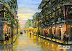 oil painting architecture one point perspective