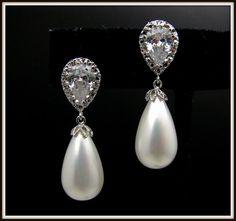 wedding bridal teardrop white shell pearl earrings with cubic zirconia deco teardrop post- Free US Shipping
