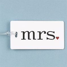 """Add a romantic touch to your luggage on your honeymoon and long afterward with this white luggage tag featuring mrs."""" in black with a little red heart. details here: Romantic Mrs. Wedding Gifts For Women, Handmade Wedding Gifts, Perfect Wedding, Dream Wedding, Wedding Blue, Wedding Stuff, Wedding Ideas, Vintage Shabby Chic, Cute Gifts"""