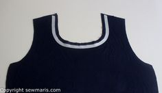 knit stay tape placement around neckline to create a flat smooth neck on jersey fabric. Tutorial  by Sew Maris