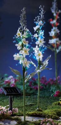 Solar Fiber Optic Field Flowers Garden Stake Set