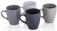 Sabichi Set of 4 Large Mugs - Grey Mugs Dishwasher & Microwave Safe Rippled Mug #Sabichi