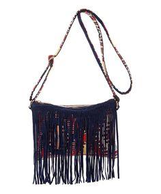 Loving this Raj Imports Black & Red Geometric Fringe Purse on #zulily! #zulilyfinds