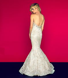 Mac Duggal Prom 2013- Strapless Ivory Floral Print Mermaid Gown - Unique Vintage - Cocktail, Pinup, Holiday & Prom Dresses.