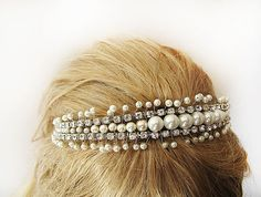 Pearl Wedding tiara wedding headband Vintage dream  by ADbrdal, $79.00