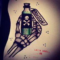 Poison bottle by Cherri Andrews, London, U.K. Cherriandrewstattoo@gmail.com…