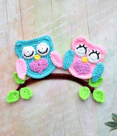 PATTERN Loving Owls Applique Crochet Pattern PDF Owl Crochet Applique Valentine's Day Gift Owls Love Motif Ornament for Baby for Blanket ENG - Herzlich willkommen Crochet Applique Patterns Free, Crochet Motifs, Bead Crochet, Crochet Hooks, Knitting Patterns, Crochet Appliques, Knitting Ideas, Motifs D'appliques, Baby Crafts