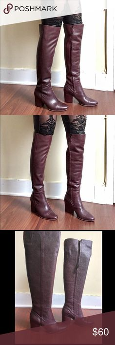 Purple Besso Rebecca Minkoff Over the Knee Boots Absolutely stunning Rebecca Minkoff boots in mint condition. I purchased these on EBay and I have never worn them. Only tried them on once and took photos. Brand new no signs of wear. I have very slim calfs and thighs and they fit like a glove. Size 7. 13.5 inch calf, 15 inch opening with a slit , 21.5 inches tall, 3 inches wide. Absolutely gorgeous boots I hate to give them up but I need more room in my closet! Feel free to ask any questions…
