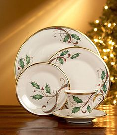 My Christmas china.. gold rimmed. Love it.